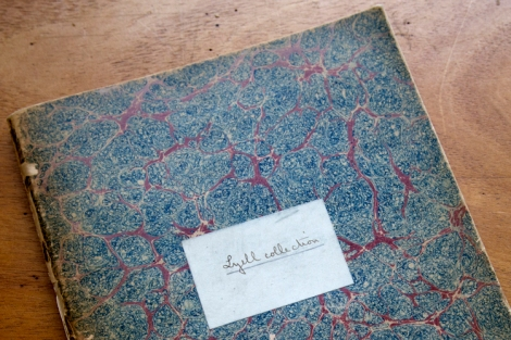 Photograph of original Lyell Collection catalogue
